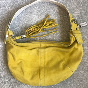 Coach: Yellow Suded Nubuck Handbag